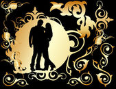 Two lovers in a golden frame — Stock Vector