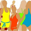 Girl in swimwear — Image vectorielle