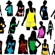Silhouettes girl in swimwear — Image vectorielle