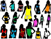 Silhouettes girl in swimwear — Stock Vector