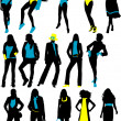 Silhouettes fashion woman — Stock Vector