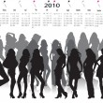 Fashion woman in calendar — Stock Vector
