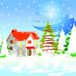 Christmas background with snow and house — Imagen vectorial