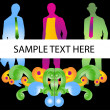 Three business man with sample text — Stock Vector