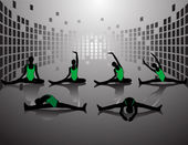 Silhouettes fitness woman in area — Stockvektor