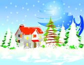 Christmas background with snow and house — Stock Vector
