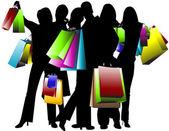 Shopping, team — Stock Vector