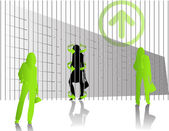 Green business woman — Stock Vector
