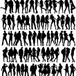 Seventy four silhouettes — Stock Vector