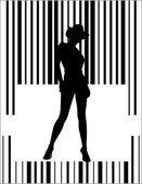 Bar code woman — Stock Vector