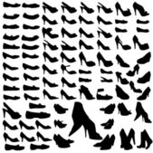 Many silhouettes shoes — Stock Vector