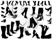 Många silhuetter skor — Stockvektor