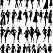 Stock Vector: Silhouettes women