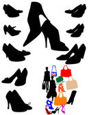 Silhouettes of black shoes and shopping — Stock Vector
