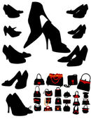 Silhouettes of black boots and handbags — Stock Vector