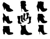 Silhouettes of black boots — Stock Vector