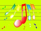 Notas musicales en color — Vector de stock