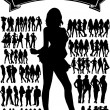 Royalty-Free Stock Vector Image: Silhouettes with sample text