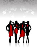 Silhouettes of girls in red dress — Stock Vector