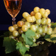 Stock Photo: White wine and grapes