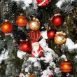 Background Christmas decorations in snow - Stock Photo