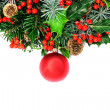 Christmas wreath and bauble - Stock Photo
