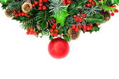 Christmas wreath and bauble — Stock Photo
