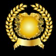 Golden heraldic shield laurel wreath — Stock Photo