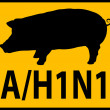 Stock Photo: Swine Flu Hazard Warning Sign