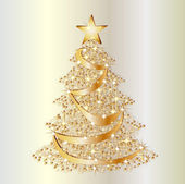 Golden christmas star tree background — Stock Photo