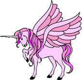 Pink unicorn with wings — Stock Photo