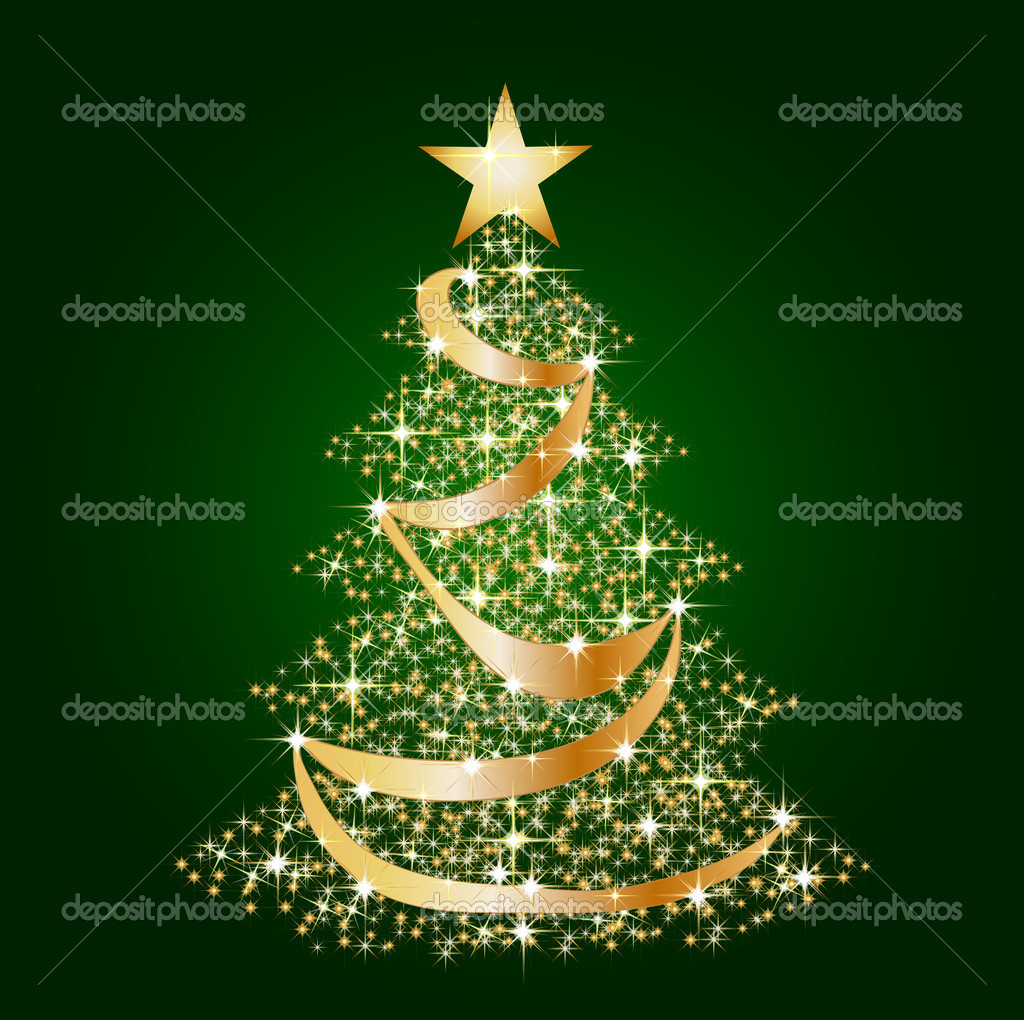 Green christmas star tree background — stock photo
