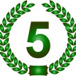 Green laurel wreath 5 years - Stock Photo