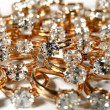 Lot of rings with big diamonds — Stock Photo