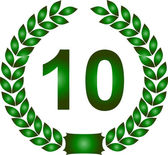 Green laurel wreath 10 years — Stock Photo