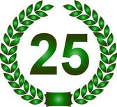 Green laurel wreath 25 years — Stock Photo