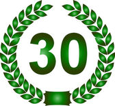 Green laurel wreath 30 years — Stock Photo