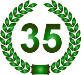 Green laurel wreath 35 years — Stock Photo