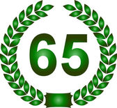Green laurel wreath 65 years — Stock Photo