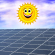 Royalty-Free Stock Photo: Solar panel against a smiling sun