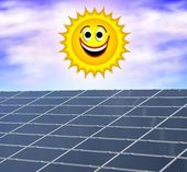 Solar panel against a smiling sun — Stock Photo