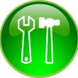 Green repair button — Stock Photo