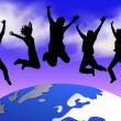 Royalty-Free Stock Photo: Happy jumping over the planet