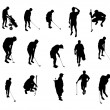 Silhouettes of golf player — Stock Photo