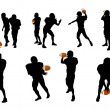 Silhouettes of football players — Stock Photo