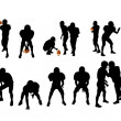 Stock Photo: Silhouettes of football players