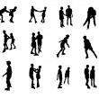 Stock Photo: Silhouettes of inline skaters