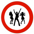 Prohibition sign Dancers — Stock Photo