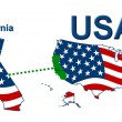 USA State Map California - Stock Photo