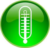 Green button with thermometer — Stock Photo